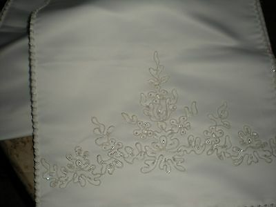 "Wedding Shawl wrap Ivory delicate pearl beads braided edges 76"" x 14"""