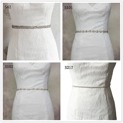 Fashion Bridal Gown Sash Wedding Dress Belt Waistband With Beading Crystal Pearl