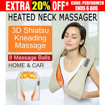 Wrap Shiatsu & Vibration Massage Heating Cushion Massager Neck Shoulder Arm AU
