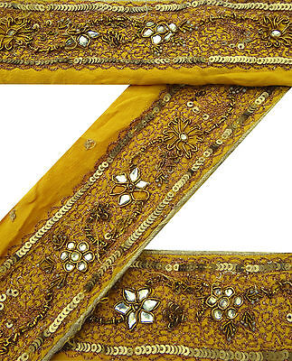 Vintage Indian Sari Border Used Embroidered Trim Sewing Yellow Ribbon Lace 1YD