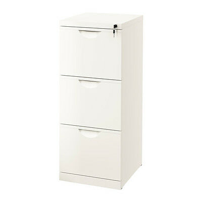 Large ERIK A4 File Metal Cabinet,White-colour,3 Drawers,Filing Cabinet + Lock