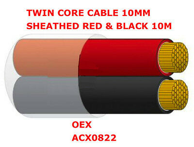 10m Roll of 10mm Twin Core Cable Sheathed Red & Black 10m x 10mm OEX ACX0822