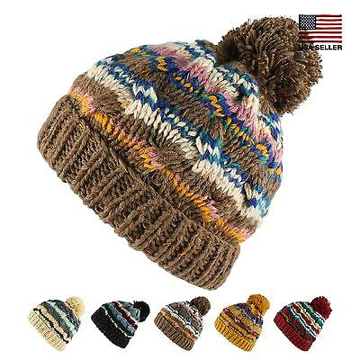 3cf57205 Bohemian Stripe Crochet Knit Slouchy Pom Pom Beanie Warm Winter Ski Hat  Women
