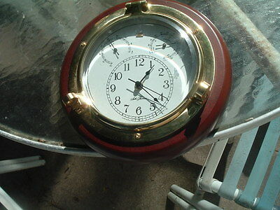 SETH THOMAS SHIPS CLOCK Wood brass thermometer Hygro. Nautical Works Well