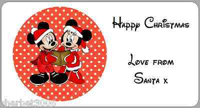 24 x Personalised Stickers Christmas Mickey & Minnie Mouse Address Labels Medium