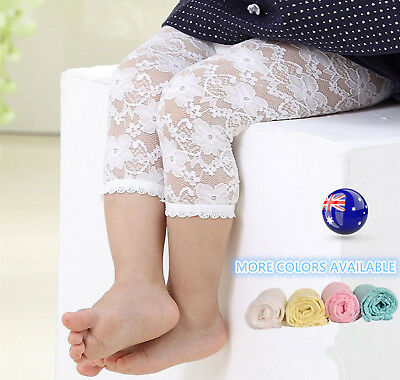 NEW Girls Kids baby Children flower Trim Lace Tights Pants Bottoms 0-3years
