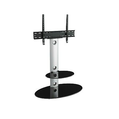 """Silver TV Stand with Column Cantilever With TV Mount Bracket for 32 - 60"""""""