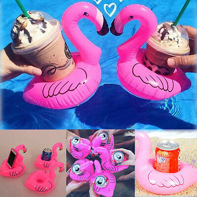 Inflatable Floating Flamingo Ice Cream Beverage Holder Summer Party Pool Fun Toy