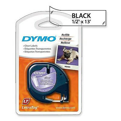 "DYMO Labeling Tape LetraTag Labelers 1/2""x13' Black on Clear"