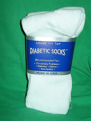 3 Pairs White 9-11, 10 -13, 13-15 Diabetic-Crew-Socks Casual Solid
