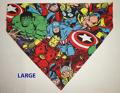 Marvel Wolverine Hulk Spiderman Thor Ironman Over Collar Slide On Dog Bandana
