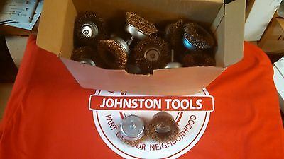 """25pc.3"""" Wire Cup Brushes 1/4"""" Shank Fits all Drills. Brass Coated Crimped Wire"""
