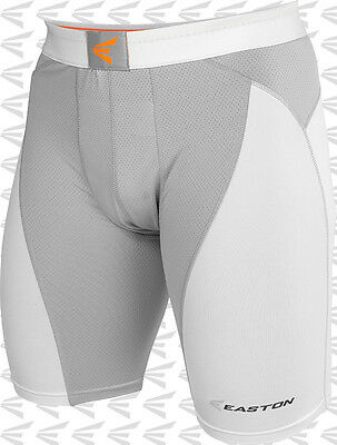 Easton Mako Adult Mens Baseball Softball Sliding Shorts With Cup A164902 Wh/Gy