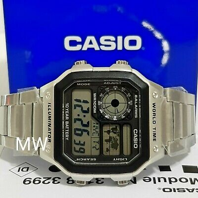 Casio AE-1200WHD-1A Digital World Time Men's Sports Alarms Day & Date Watch New
