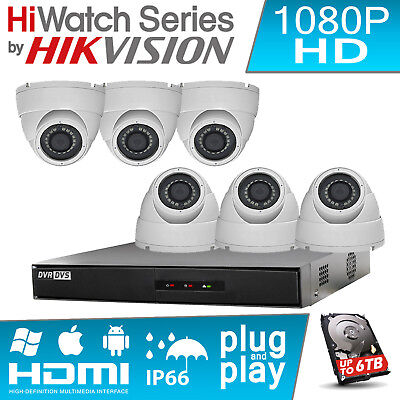 6 Hd Cctv Camera System 2.4Mp 8Channel Hikvision Dvr Hdmi P2P Outdoor Nighvision