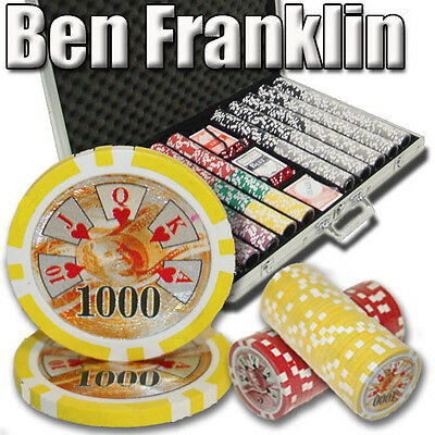 NEW 1000 PC Ben Franklin 14 Gram Clay Poker Chips Aluminum Case Set Pick Chips