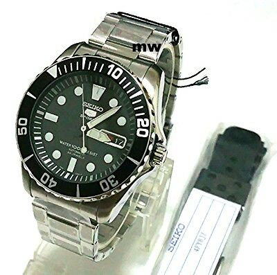 New SEIKO SNZF17K1 Free Rubber Strap Automatic Diver 23 Jewels Gear Men's Watch