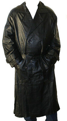 Mens Genuine Cow Leather Trench Coat Full Length Zip out Lined Buttons Closure~~