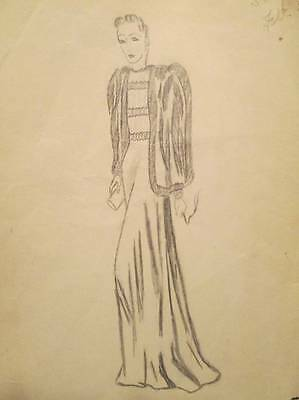 Vintage 30s 40s Fashion Sketch Art Pencil Drawings Signed Dated Gown Fur Coat