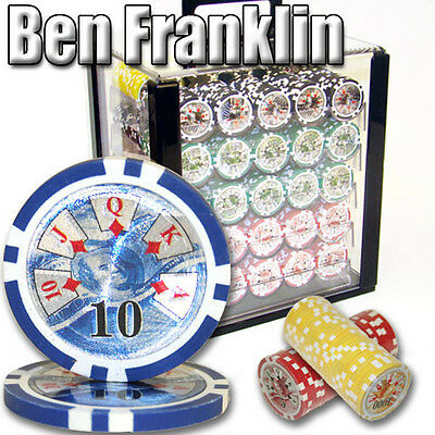 NEW 1000 PC Ben Franklin 14 Gram Clay Poker Chips Acrylic Carrier Set Pick Chips