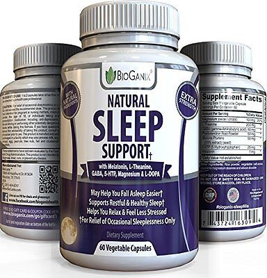 BioGanix Natural Sleep support with melatonin, GABA,5-HTP, L-Theanine, L-DOPA