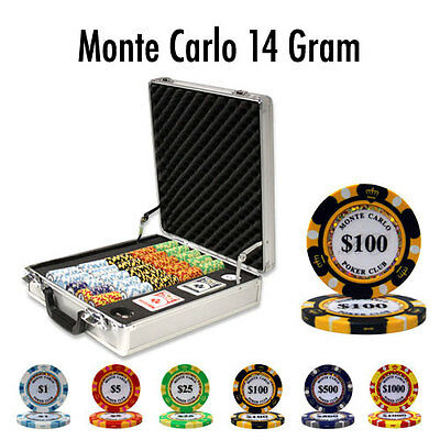 NEW 500 Monte Carlo 14 Gram Clay Poker Chips Set With Claysmith Case Pick Chips