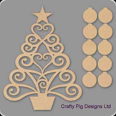 Christmas Family Tree Kit 3mm MDF Laser Cut Wooden Craft Blank Wholesale Bauble