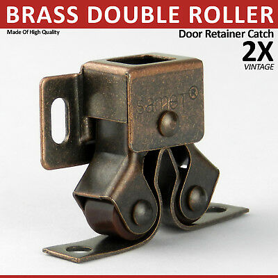 2 Vintage Brass Double Roller Catch Caravan Door Retainer Cupboard Unit Latch