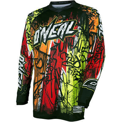 Oneal 2018 NEW Mx Gear Element Vandal Dirt Bike BMX Black Neon Motocross Jersey