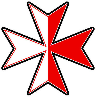 MALTESE CROSS DECAL  Size apr 100 mm by 100 mm BLACK OUTLINE
