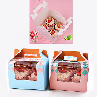 "2 PACK 6"" Handle Moon Cake Muffin Cup Cupcake Paper Boxes Cake Decor Boxes"