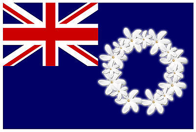 COOK ISLAND FLAG FRANGIPANY FLOWERS WHITE Size apr 100mm by 147mm