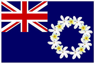 COOK ISLAND FLAG FRANGIPANY FLOWERS YELLOW WHITE Size apr 100mm by 147mm