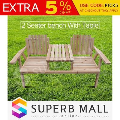Outdoor Wooden Park Bench with Table Garden Seat Chair New Sturdy Furniture