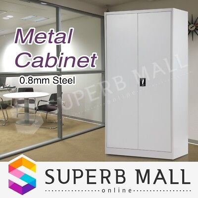 Metal Locker Cabinet Steel Stationary Cupboard Filing File Storage 168cm Grey