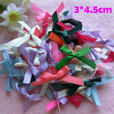 100pc Mini Satin Ribbon Tiny Bows Hair Applique Craft Artificial Baby Wedding