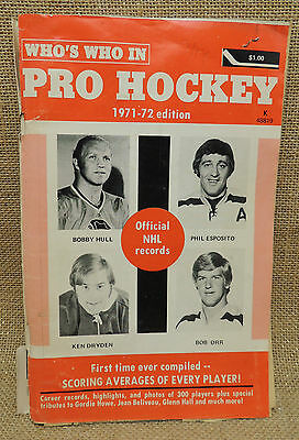 Who's Who in Hockey 1971 1972 Hull Esposito Dryden Orr Gordie Howe inside NHL