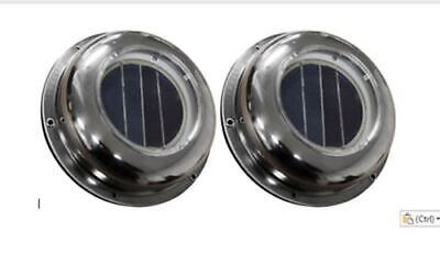 NEW 2 x Solar Exhaust Fans Attic Roof Vents Stainless Steel Cover Marine vents
