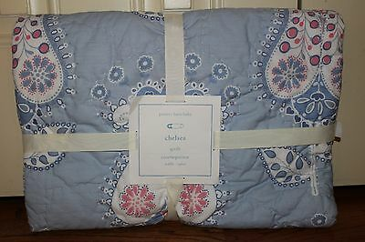 NWT Pottery Barn Kids Chelsea blue toddler nursery crib quilt pink