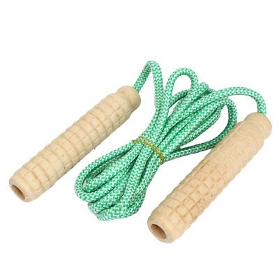 Wooden Handle Exercise Adjustable Skipping Jump Rope Green 2.3Meter Length