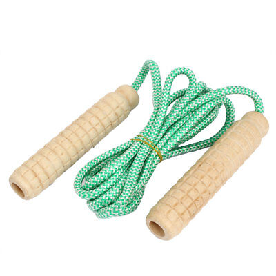 Wooden Handle Exercise Fitness Training Adjustable Skipping Jump Rope Green