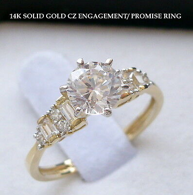 14K SOLID GOLD LADIES CZ ENGAGEMENT PROMISE RING size 7 free sizing 1 sz up down