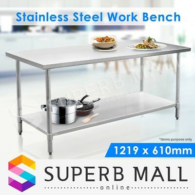 Kitchen Food Work Bench & Catering Table Stainless Steel 122cm x 61cm