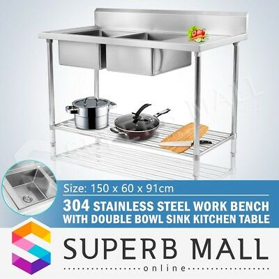304 Stainless Steel Commercial Double Bowl Kitchen Sink Bench 1500mmx600mm New