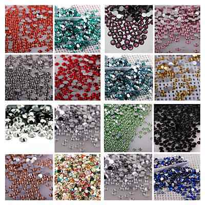 2000 Crystal Flat Back Rhinestones Gems Diamante Bead Nail Art Crafts 3mm- 5mm