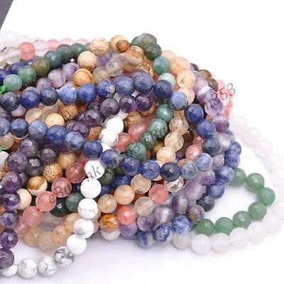 Wholesale Natural Gemstone FACETED Round Spacer Loose Beads 4MM 6MM 8MM 10MM