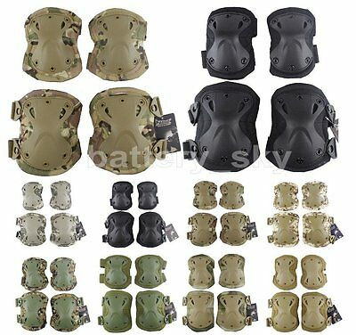 Paintball Airsoft Skating Tactical Knee & Elbow Pads Padded Protector Adjustable
