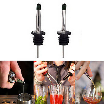 2X Whisky Liquor Oil Wine Pourer Stopper Party Bar Bottle Spout Pourer Dispenser