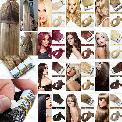 20 BANDES EXTENSION TAPE IN ADHESIVE CHEVEUX Remy 100% NATURELS hair 40cm-55cm