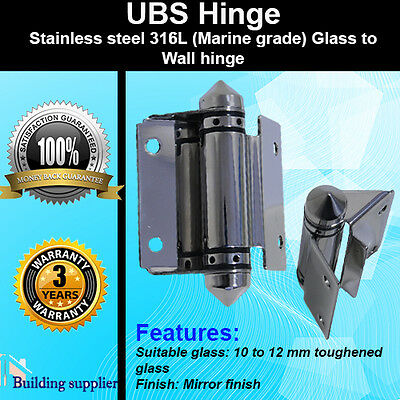 2 x Stainless Steel 316L Pool gate Frame less Glass to Wall Hinge Mirror finish